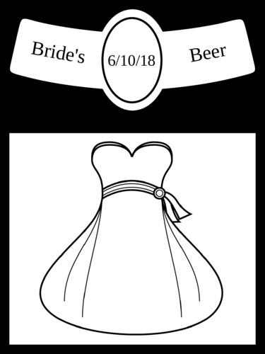 """OL3078 - 3.4999"""" x 2.9999"""" Beer - Wedding - Beer Bottle - Bride"""