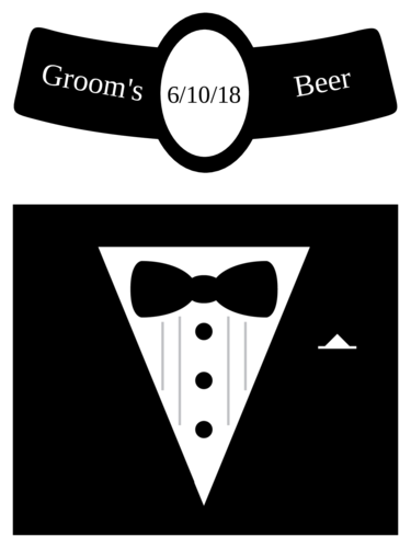 "OL3078 - 3.4999"" x 2.9999"" Beer - Wedding - Beer Bottle - Groom"
