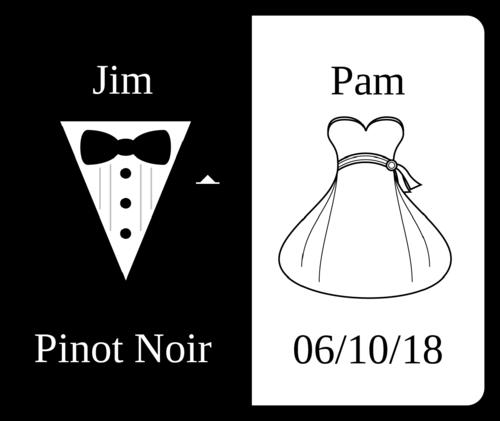 "OL150 - 4"" x 3.33"" - Wedding - Wine Bottle - Bride & Groom"