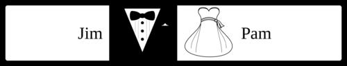 "OL435 - 8.1875"" x 1.375"" - Wedding - Water Bottle - Bride & Groom"