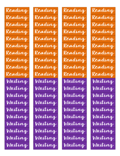 "OL25 - 1.75"" x 0.5"" - Reading and Writing - Lesson Plan Printables"