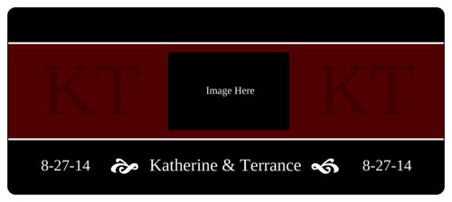 "OL5925 - 7"" x 3"" - Maroon and Black Wedding Wine Bottle Label"