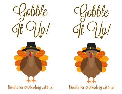 "OL131 - 8"" x 5"" - Thanksgiving Printable Labels with Turkey ""Gobble It Up"""
