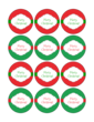 """OL8750 - 2.25"""" Circle - Red and Green Merry Christmas"""