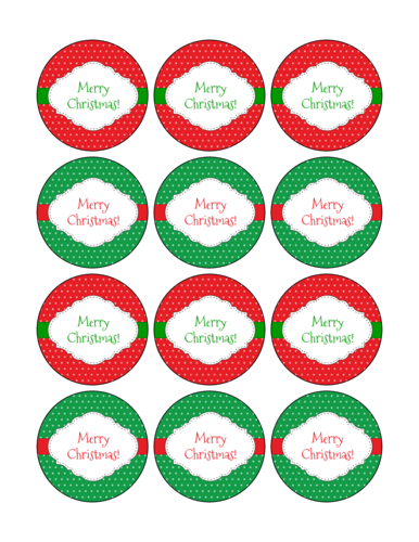 Red and Green Merry Christmas pre-designed label template for OL8750