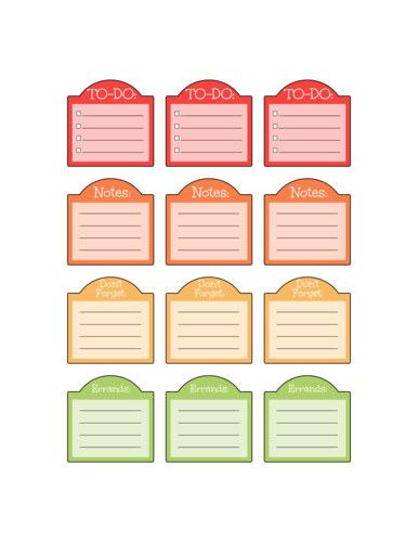 Planner Notes Labels pre-designed label template for OL1060