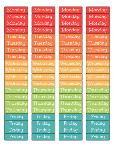 "OL25 - 1.75"" x 0.5"" - Weekly Planner Labels"