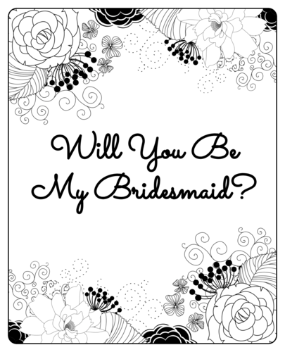 "OL475 - 4"" x 5"" - Black & White Floral ""Will You Be My Bridesmaid?"" Wine Label"