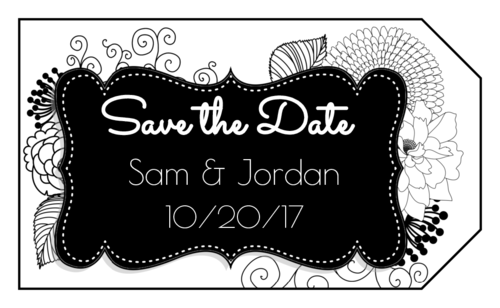 """OL1763 - 1.75"""" x 3"""" - Black & White Floral """"Save the Date"""" Label"""