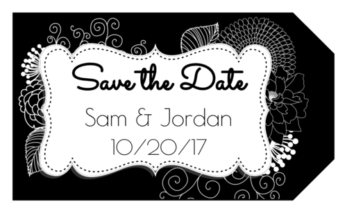"OL1763 - 1.75"" x 3"" - Inverted Black & White Floral ""Save the Date"" Gift Tag Label"