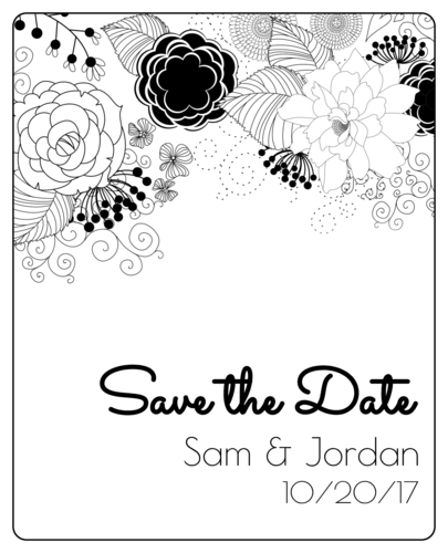"OL475 - 4"" x 5"" - Black & White Floral ""Save the Date"" Wine Label"
