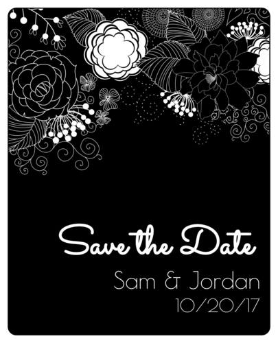 "OL475 - 4"" x 5"" - Inverted Black & White Floral ""Save the Date"" Wine Label"