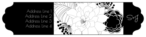 "OL1759 - 7.5"" x 1.75"" - Black & White Floral Wrap-Around Label"