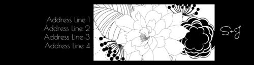 "OL1759 - 7.5"" x 1.75"" - Black & White Floral Wrap-Around Label"