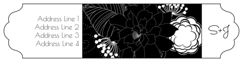 """OL1759 - 7.5"""" x 1.75"""" - Black and White Floral Wrap-Around Inverted Colors"""