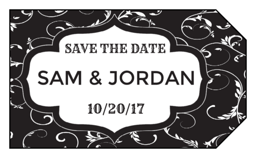 "OL1763 - 1.75"" x 3"" - Fancy Black and White ""Save the Date"""