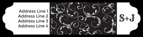 """OL1759 - 7.5"""" x 1.75"""" - Fancy Black and White Wrap-Around Address Label"""