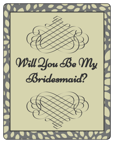 "OL162 - 3.75"" x 4.75"" - Green Bridesmaid Wine"