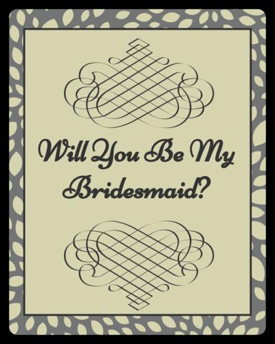 "OL162 - 3.75"" x 4.75"" - Green Bridesmaid Wine"