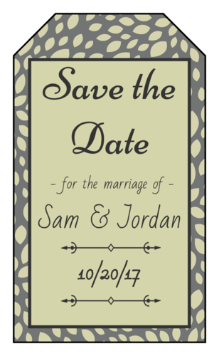 """OL1763 - 1.75"""" x 3"""" - Olive """"Save the Date"""" Gift Tag Label"""