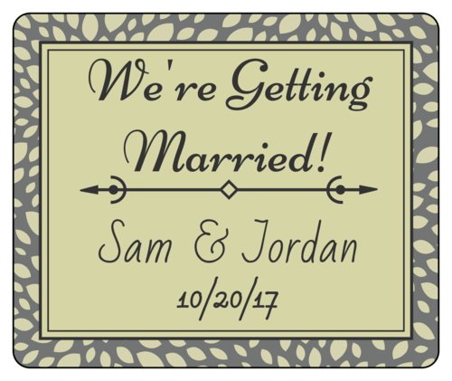 "OL150 - 4"" x 3.33"" - Olive ""We're Getting Married!"" Wedding Announcement Wine Bottle Label"