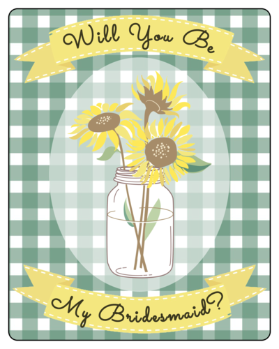 "OL162 - 3.75"" x 4.75"" - Picnic-Style Bridesmaid Wine Label"