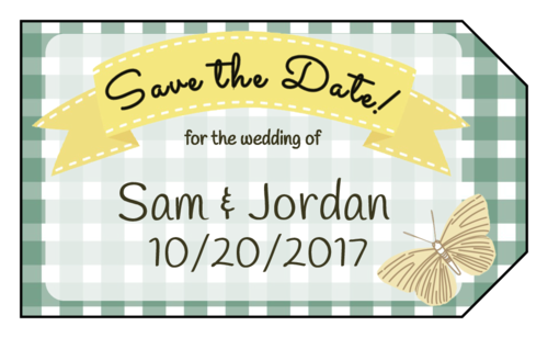 """OL1763 - 1.75"""" x 3"""" - Picnic Themed """"Save the Date"""""""
