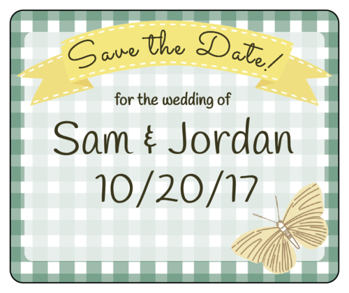 "OL150 - 4"" x 3.33"" - Picnic ""Save the Date"" Wine Bottle Label"