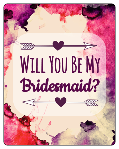 Watercolor bridesmaid wine bottle label label templates for Will you be my bridesmaid wine label template