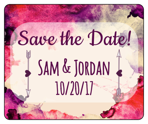 "Watercolor ""Save the Date"" Wine Bottle Label pre-designed label template for OL150"