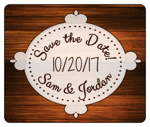 "OL150 - 4"" x 3.33"" - Wood Grain ""Save the Date"" Wine"