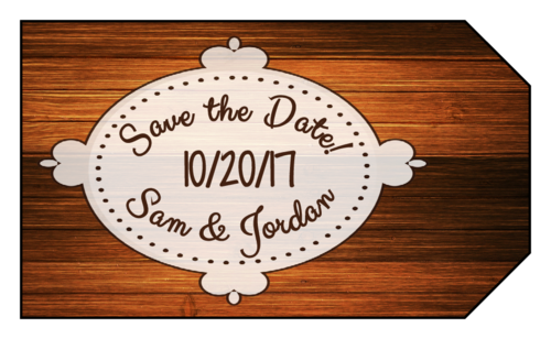 """OL1763 - 1.75"""" x 3"""" - Wood Grain """"Save the Date"""" Gift Tag"""