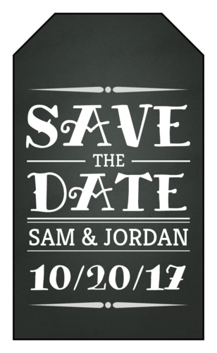 "OL1763 - 1.75"" x 3"" - Chalkboard Save the Date Gift Tag Label"