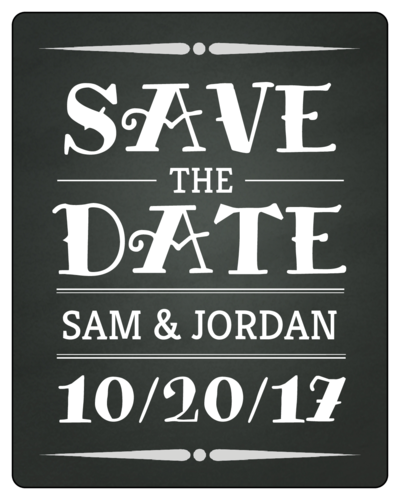 "OL162 - 3.75"" x 4.75"" - Chalkboard ""Save The Date"" Wine Bottle Label"