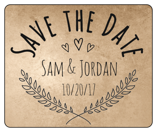 "OL150 - 4"" x 3.33"" - Organic ""Save the Date"" Wine Bottle Label"