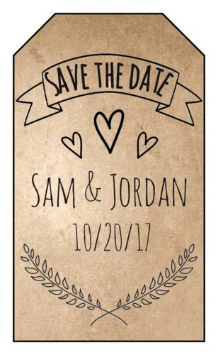 "OL1763 - 1.75"" x 3"" - Organic ""Save the Date"" Gift Tag"