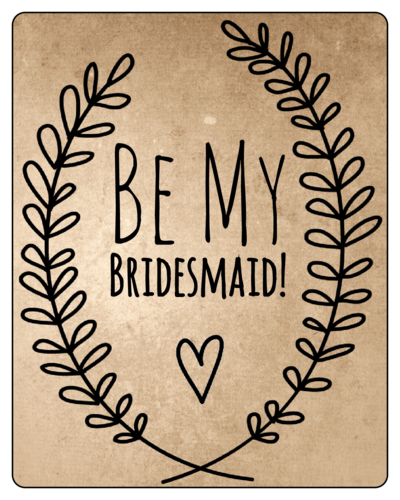 "OL162 - 3.75"" x 4.75"" - Organic Bridesmaid Wine Bottle Label"