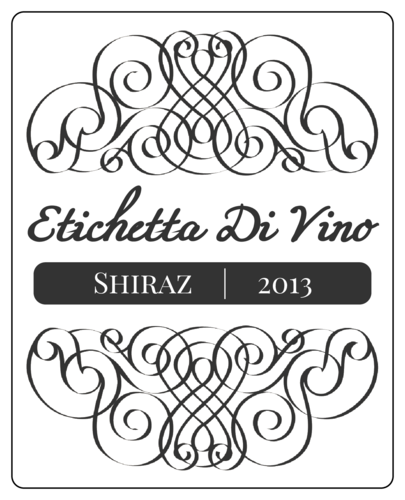 "OL475 - 4"" x 5"" - Gray and White Wine Label"