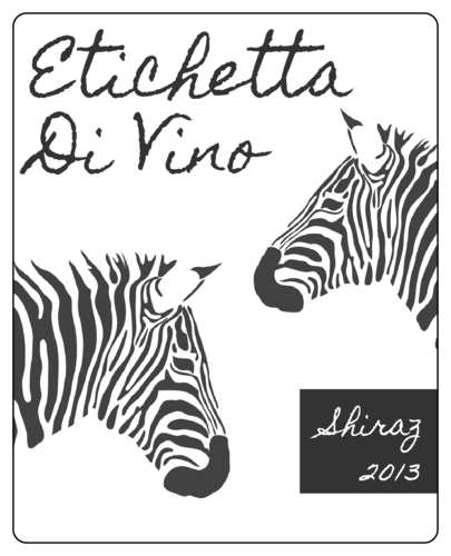 """OL475 - 4"""" x 5"""" - Zebra Wine Label"""