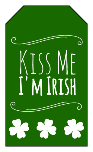 "OL1763 - 1.75"" x 3"" - Kiss Me I'm Irish Gift Tag"