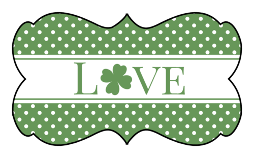 "OL823 - 2.2441"" x 1.2992"" - St. Patrick's Day ""Love"" Decorative Label"