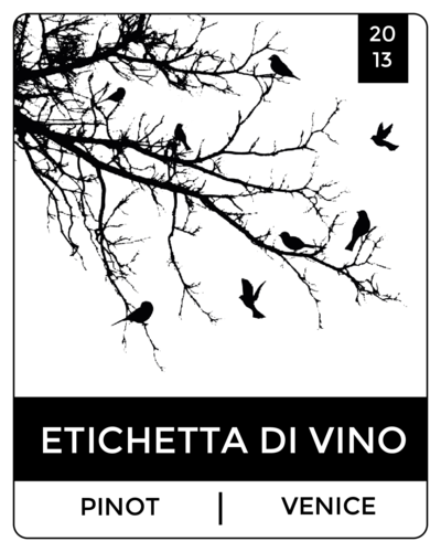 "OL162 - 3.75"" x 4.75"" - Bird Silhouette Wine Label"