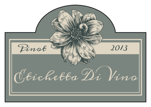 Vintage Floral Wine Label pre-designed label template for OL544