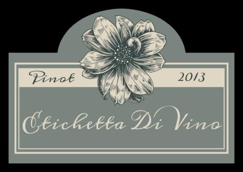 """OL544 - 3.5"""" x 2.4031"""" - Vintage Floral Wine Label"""