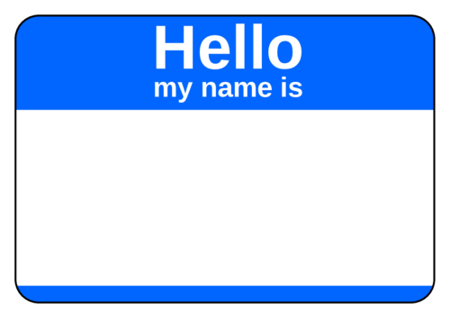 """OL5030 - 3.375"""" x 2.3125"""" - Blue Name Tag"""