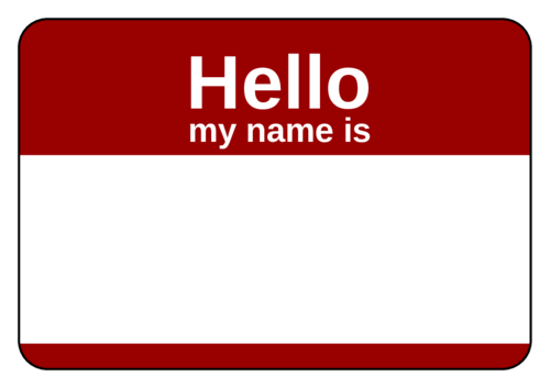Red Name Tag pre-designed label template for OL5030