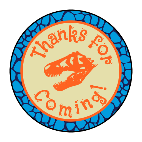 "OL2088 - 1.5"" Circle - Dinosaur Birthday Goody Bag Labels"