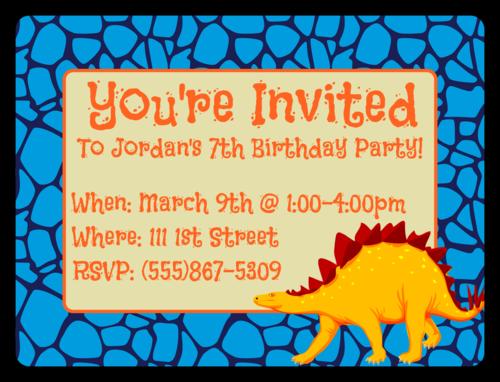"OL500 - 4"" x 3"" - Dinosaur Birthday Invite"