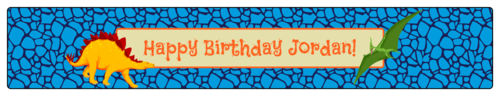 "OL435 - 8.1875"" x 1.375"" - Dinosaur Birthday Water Bottle Labels"