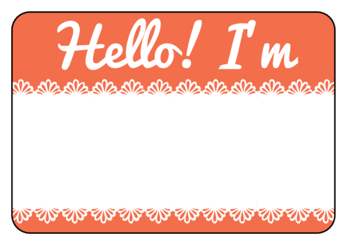 "OL5030 - 3.375"" x 2.3125"" - Salmon Lace Name Tag"